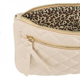 Alexis Beige Quilted Faux Leather Clutch With Gold Chain Wristlet - shophomegardens.com