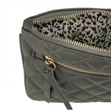 Alexis Grey Quilted Faux Leather Clutch With Gold Chain Wristlet - shophomegardens.com