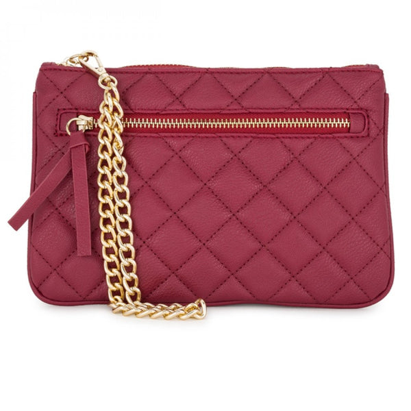 Alexis Red Quilted Faux Leather Clutch With Gold Chain Wristlet - shophomegardens.com