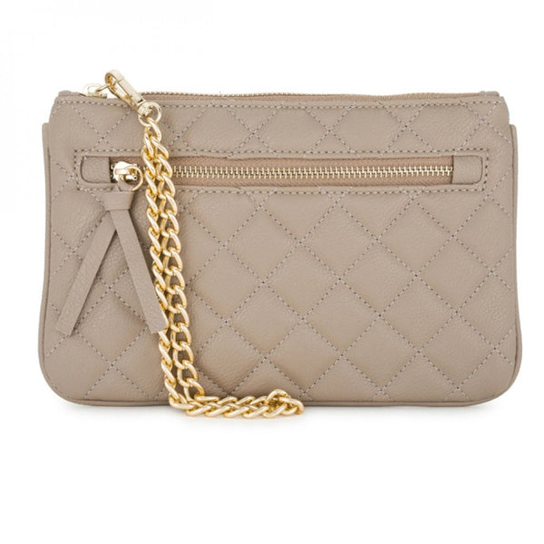Alexis Taupe Quilted Faux Leather Clutch With Gold Chain Wristlet - shophomegardens.com