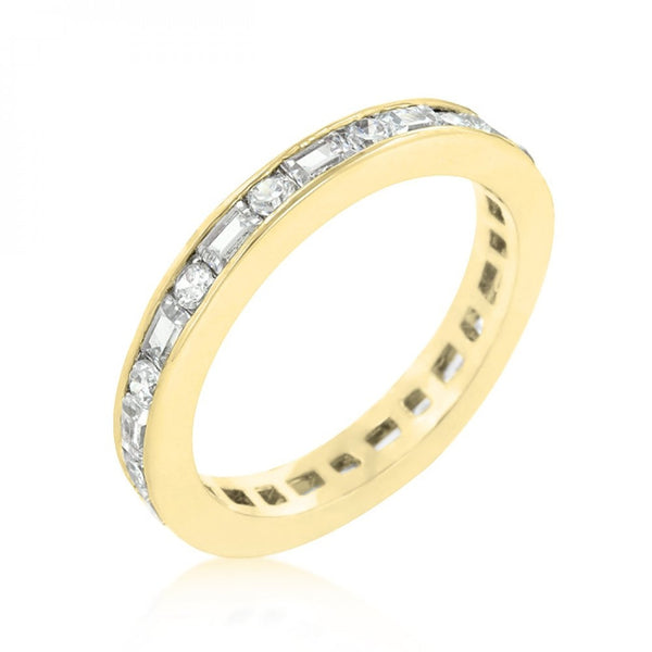 Alternating Cubic Zirconia Eternity Band In Goldtone Finish - shophomegardens.com