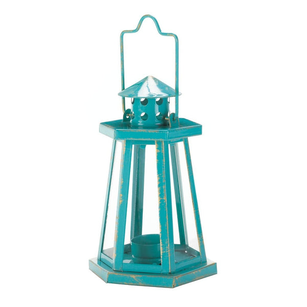 Aqua Lighthouse Mini Lantern - shophomegardens.com