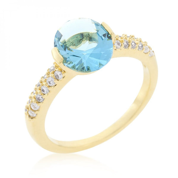 Aqua Oval Cubic Zirconia Engagement Ring - shophomegardens.com