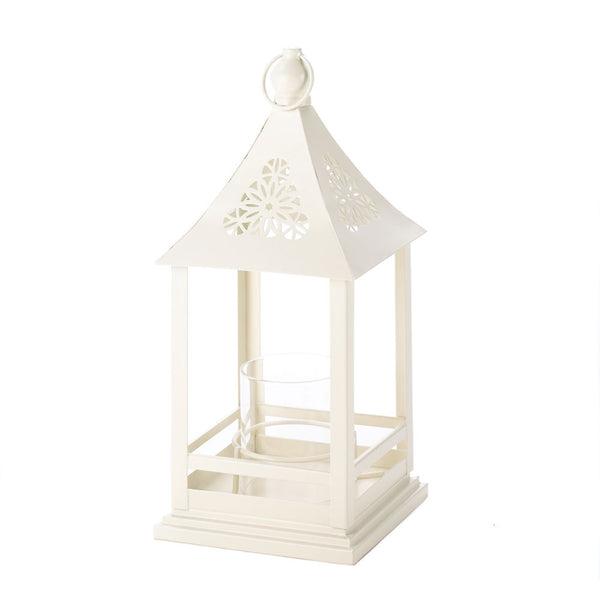 Beautiful White Floral Cutout Lantern With Glass Hurricane - shophomegardens.com