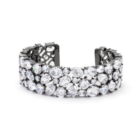 Bejeweled Cz Cuff Black Tone - shophomegardens.com