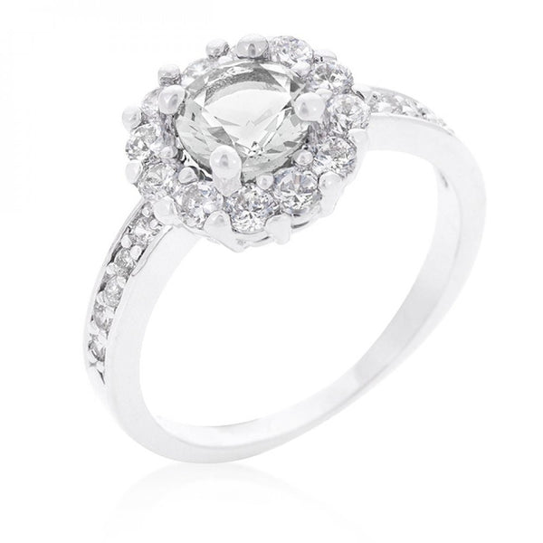 Bella Birthstone Engagement Ring In Clear - shophomegardens.com