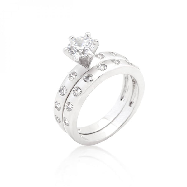 Bezel Set Round Cut Bridal Ring Set - shophomegardens.com
