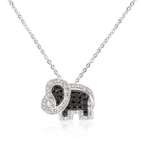 Black And White Cz Elephant Pendant - shophomegardens.com