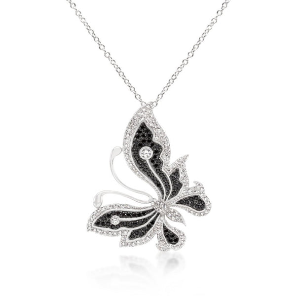 Black And White Large Cz Butterfly Pendant - shophomegardens.com