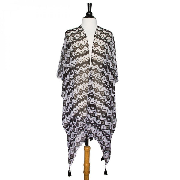 Black Gena Geometric Print Shawl Cover Up With Tassels - shophomegardens.com