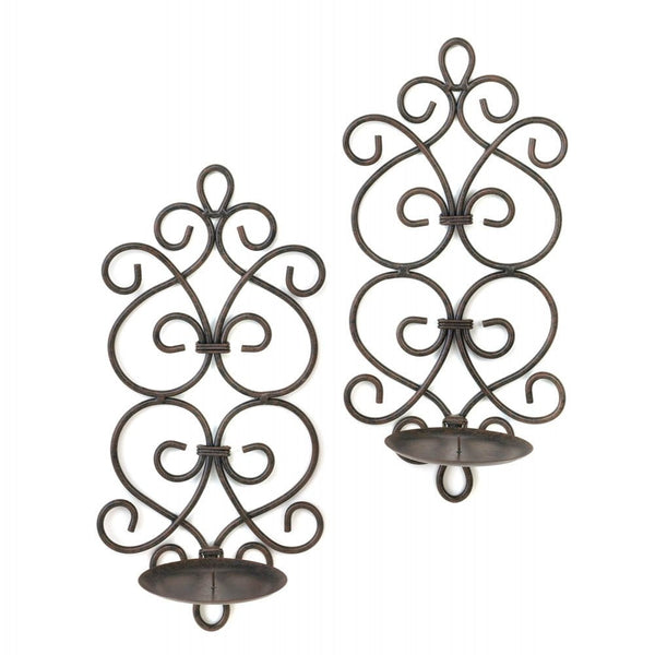 Black Iron Scrollwork Candle Wall Sconces - shophomegardens.com