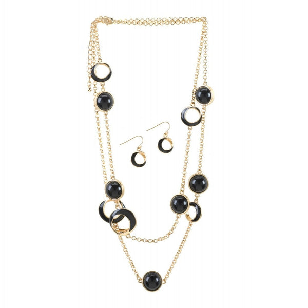 Black Orbit Necklace And Earrings Jewelry Set - shophomegardens.com