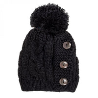 Black Paula Knitted Pom Beanie - shophomegardens.com