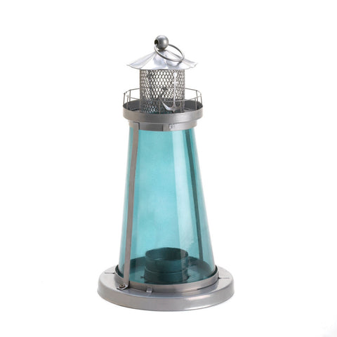 Blue Glass Lighthouse Lantern - shophomegardens.com