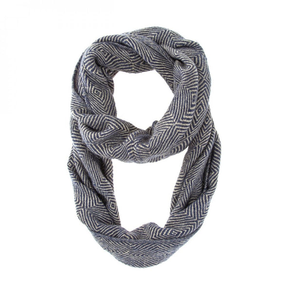 Blue Patterned Infinity Scarf - shophomegardens.com