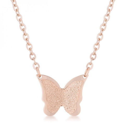 Breanne Rose Gold Stainless Steel Rose Gold Butterfly Necklace - shophomegardens.com