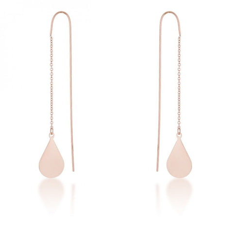 Chloe Rose Gold Stainless Steel Teardrop Threaded Drop Earrings - shophomegardens.com