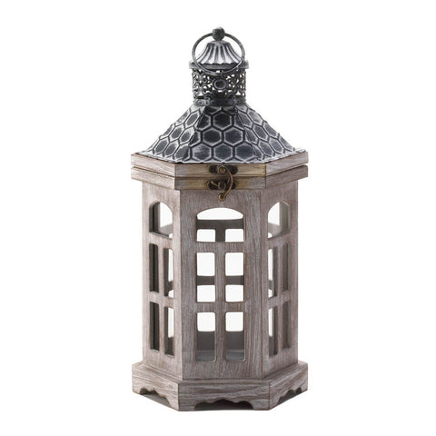 Hex Top Wood Candle Lantern - shophomegardens.com