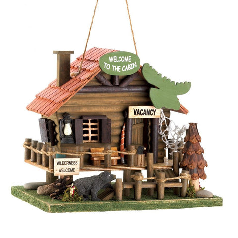 Welcome To The Cabin Birdhouse - shophomegardens.com