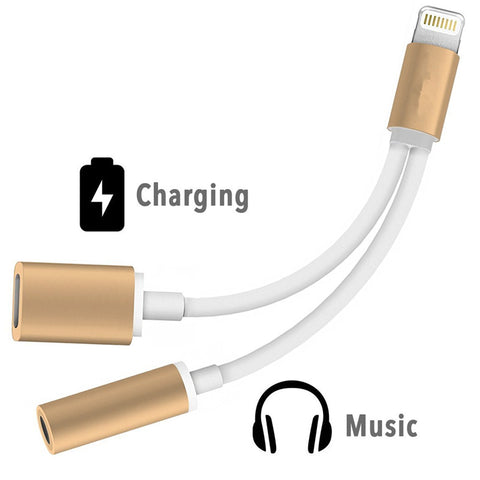 2 in 1 Phone Cable Jack Adapter For iPhone 7/7+ Headphone Jack/Lightning Cable- Gold