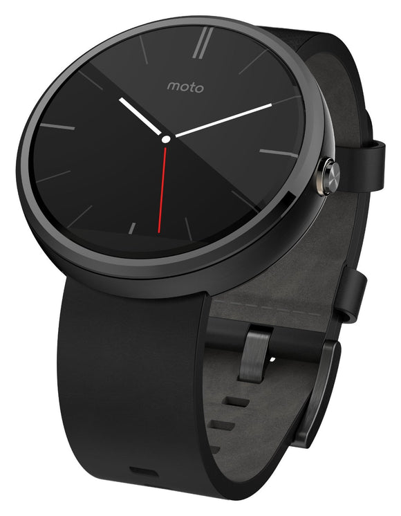 Motorola Moto 360 - Black Leather Smart Watch -Used