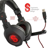 Etekcity Scroll Gaming Headset / Headphones (H5GX): LED Light Up Effect (Black/Red)