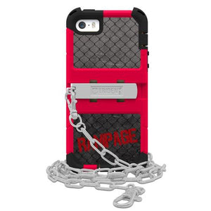 "Trident Cage Red/Black Rampage Series Case Hybrid, Kickstand & 32"" Steel Chain iPhone 5/5s"