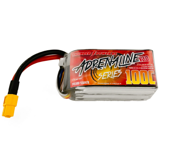 Thunder Power 1300mAh 5s 100c V2.0 Adrenaline Series Lipo Battery