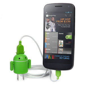 Andru Android Robot USB Cell Phone Travel Charger - Retail Packaging - Green