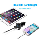 Car Charger-CHOE 30W Quick Charge 2.0 Fast Charger Dual USB Quick Car Charger with Micro USB Cable