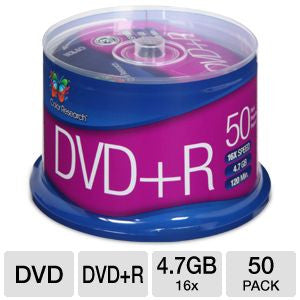 Color Research Cake Box DVD+R 50-Pack - 50-Pack, 16X, 120 mins, 4.7GB - C18-42003
