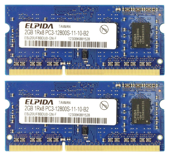 Elpida 4GB 2x 2GB DDR3 PC3-12800 1RX8 Macbook Laptop Memory RAM