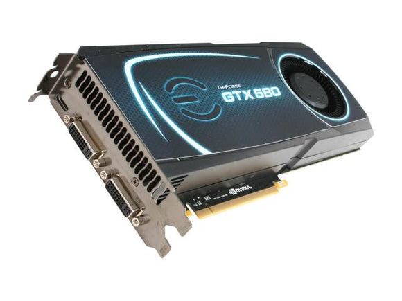 EVGA GeForce GTX 580 (Fermi) DirectX 11 015-P3-1580-AR 1536MB 384-Bit GDDR5 PCI Express 2.0 x16 HDCP Ready SLI Support Video Card