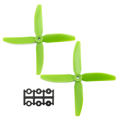 HQProp 5x4x4G CCW Propeller - 4 Blade (2 Pack - Green Nylon Glass Fiber)