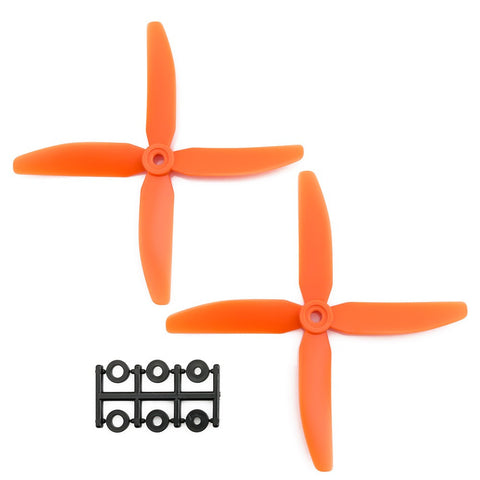 HQProp 5x4x4RO CW Propeller - 4 Blade (2 Pack - Orange Nylon Glass Fiber)