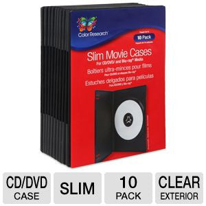 Color Research Slim Movie Cases - 10 Pack, Movie Box Design, For CD/DVD