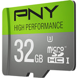 PNY U3 High Performance 32GB High Speed MicroSDHC Class 10 UHS-I, up to 60MB/sec Flash Memory Card