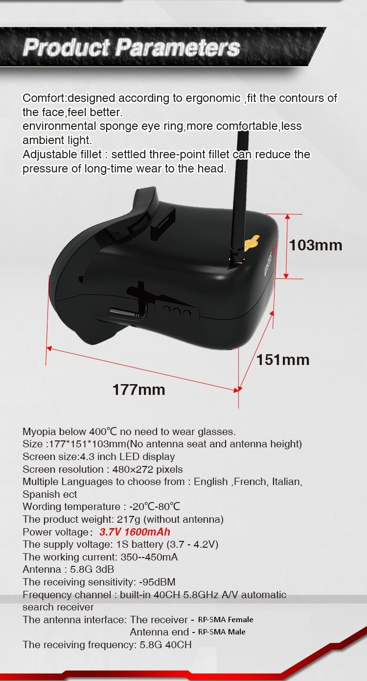 0d46e8d2d97 ... Eachine VR007 Pro 5.8G 40CH FPV Goggles 4.3 Inch Video Headset w  3.7V