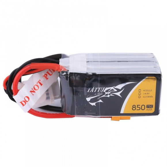 Tattu 850mAh 14.8V 75C 4S1P Lipo Battery Pack (XT60)