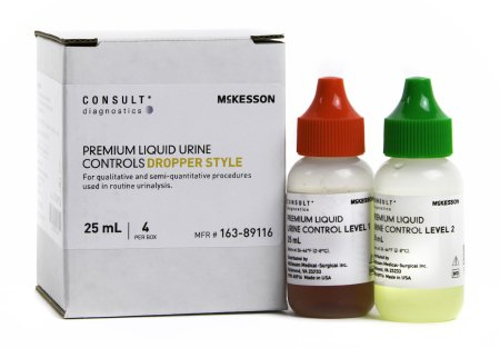 Urine Chemistry Urinalysis Control McKesson Consult™ Analyte Testing Positive Level / Negative Level 2 Level 1 (Abnormal) 25 mL Bottles, 2 Level 2 (Normal with hCG) 25 mL Bottles