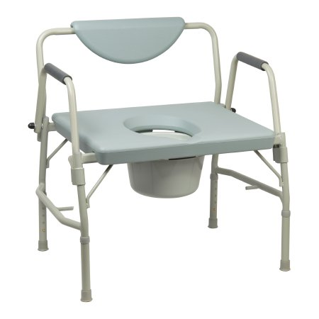 Bariatric Commode Chair McKesson Drop Arm Steel Frame Padded Back 23-1/4 Inch Seat Width