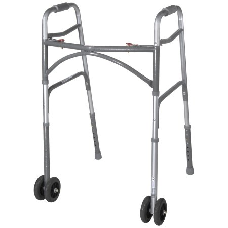 Bariatric Folding Walker Adjustable Height McKesson Steel Frame 500 lbs. Weight Capacity 32 to 39 Inch Height
