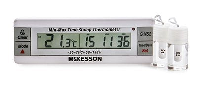 Refrigerator / Freezer Thermometer McKesson Fahrenheit / Celsius -58° to +158°F (-50° to +70°C) Desk / Wall / Door Mount Battery Operated