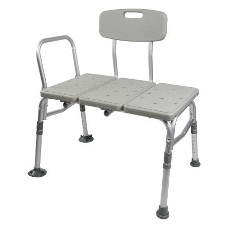 McKesson Knocked Down Bath Transfer Bench Removable Arm Rail 17-1/2 to 22-1/2 Inch Seat Height 400 lbs. Weight Capacity