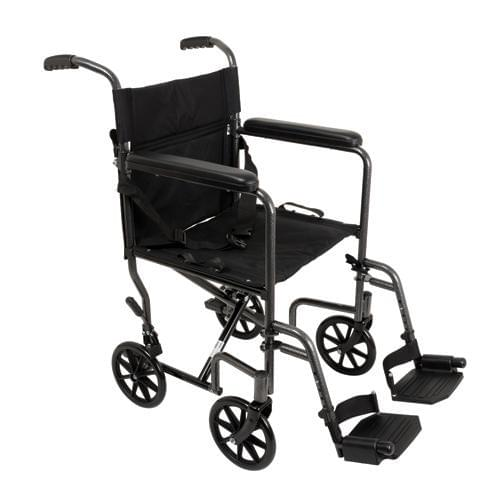 "ProBasics Silver Vein 19"" Steel Transport Wheelchair - MedixSource"