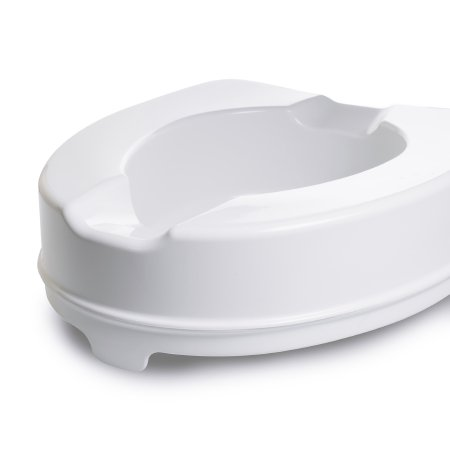 Raised Toilet Seat McKesson 4 Inch Height White 400 lbs. Weight Capacity