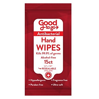Good to go Antibacterial Wipes 15-Count, Alcohol-Free