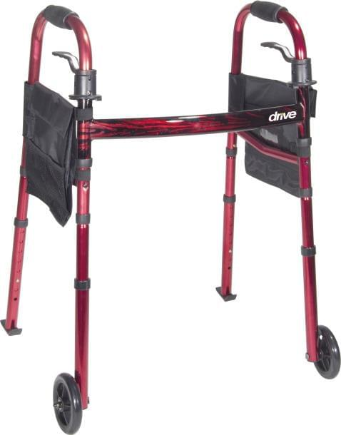 "Deluxe Folding Travel Walker with 5"" Wheels - MedixSource"