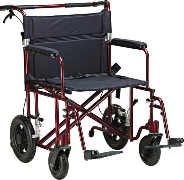 "22"" Bariatric Aluminum Transport Chair - MedixSource"