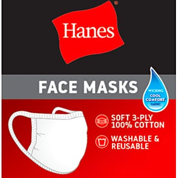 Hanes 3-Ply Cotton Reusable Face Mask with Nose Clip - 50/Case
